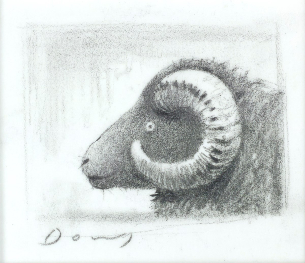 Ram (Study II) by doug hyde -  sized 4x3 inches. Available from Whitewall Galleries
